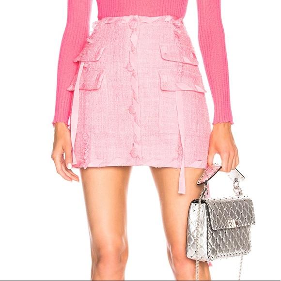 MSGM Dresses & Skirts - MSGM Pink Tweed Fringe Skirt 40